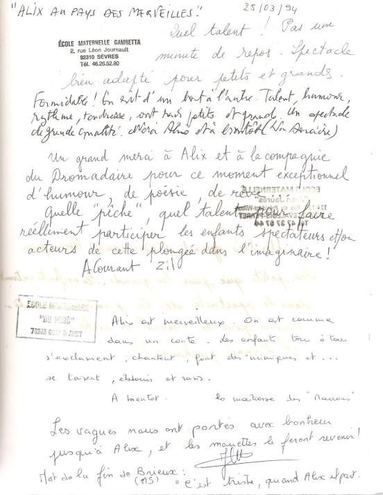 Livre d'or 1994 2 écoles Mater ''Alix au Pays des Merveilles '' 001