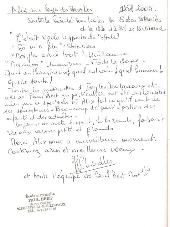 livre d'or 2005 Ecoles Maternelles Issy les Moulineaux 001