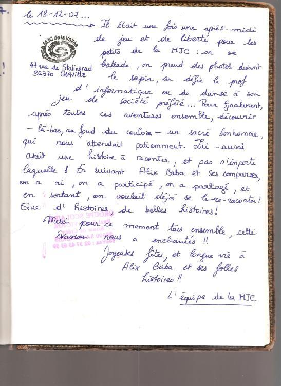 livre d'or MJC Chaville